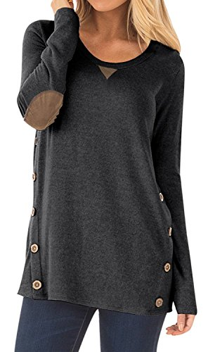 DEARCASE Womens Loose Long Sleeve Tops Crew Neck Casual Blouse Tunic Tops Dark Grey Large