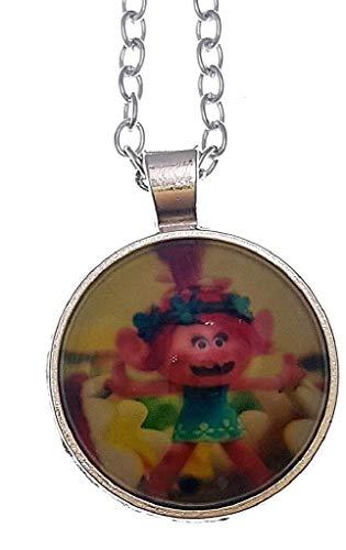 EVRYLON Collar para niña o niña con colgante foto Trol Poppy dibujos animados multicolor color plata Excelente idea regalo