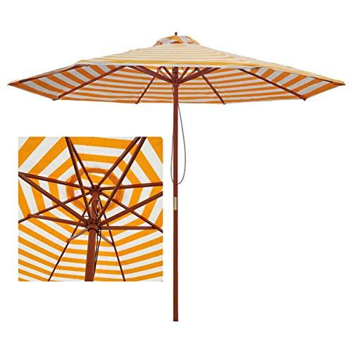 Sombrilla Jardin Sombrilla de Playa de Rayas Blancas Amarillas, 9 Pies Sombrilla de Patio Sombrillas de Mesa de Mercado, para Jardín Al Aire Libre Patio Playa Piscina