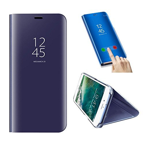 SevenPanda pour Huawei P10 Lite étui de téléphone en métal, Huawei P10 Lite Coque, Flip Miroir Transparent Housse Etui Smart Sleep/Wake Livre PC Aluminium Portable - Violet Foncé
