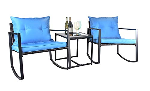 Grepatio 3 Piece Rocking Bistro Set, Modern Wicker Patio Furniture Sets, Outdoor Rattan Chair Conversation Sets with Coffee Table for Yard and Bistro (D: Brown, Blue - Rocking)