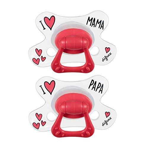 Difrax Natural Baby-Schnuller 20+ Monate, 2er Set mit Silikonsauger, Gute Akzeptanz, Optimale Luftzufuhr, Angenehm - I Love Mama & Papa