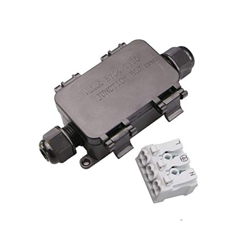 Caja de conexiones IP68 Impermeable Al aire libre Sin tornillos Tipo de empuje Conexión rápida 1 Juego 2 vías 3 pines Conector de plástico negro Glándula Eléctrica