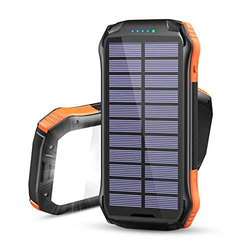 Hiluckey Cargador Solar Inalámbrico 16000mAh Power Bank Carga Rápida Cargador Portátil Batería Externa con 3 Salidas y Linternas para Smartphones Tabletas y Más