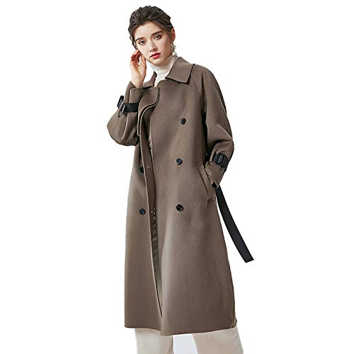 Abrigo de lana hecho a mano para mujer Gabardina clásica de color sólido Chaqueta de largo medio Solapa Abrigos largos delgados Abrigo de doble botonadura Abrigo de cachemir de doble cara Brown-M