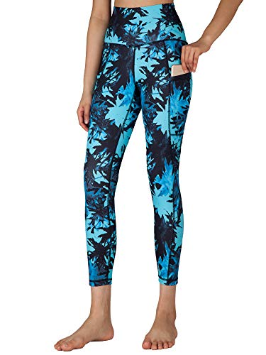 Free Leaper Leggings 7/8 con Bolsillos Mujer Cintura Alta Pantalón Deportivo Yoga y Pilates Mallas para Fitness Running (Hojas de Arce Verde, L)
