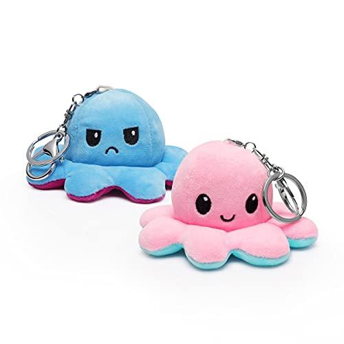 MOMSIV Lot de 2 porte-clés en forme de pieuvre en peluche - Jouet pour enfant - Lavable - Double face - Jouet en peluche doux - Poupée Octopus Toy pour fille