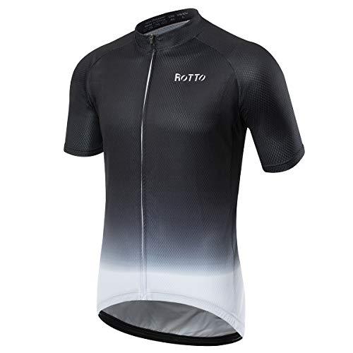 ROTTO Maillot Ciclismo Hombre Camiseta Ciclismo Manga Corta Ropa Ciclista para Bicicleta de montaña con Bolsillo (B1 Negro-Blanco, M)