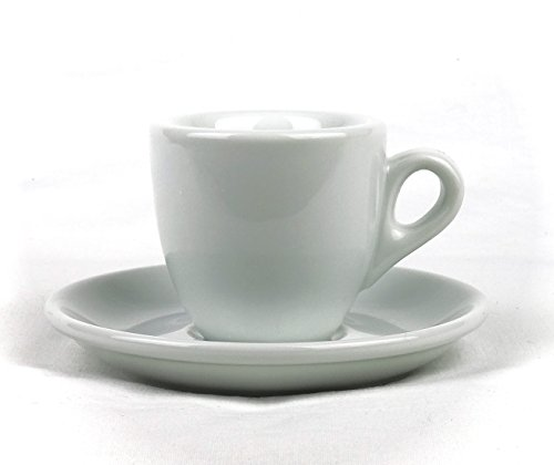 Moka Consorten Extra dickwandige Espressotassen | 0,8 cm Tassenwand | Füllmenge (bis zur Oberkante): 56 ml | weiß | 1 Tasse & 1 Untertasse