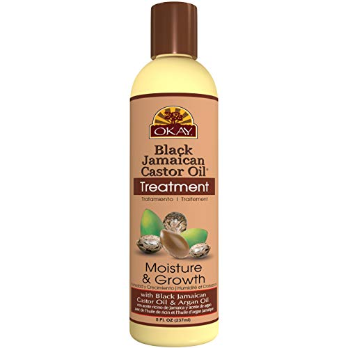 OKAY | Black Jamaican Castor Oil | Treatment for All Hair Types/Textures | Repair, Moisturize, Grow Healthy Hair | With Argan Oil & Shea Butter | Free Of Parabens, Silicones, Sulfates | 8 Oz