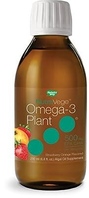 Nature's Way NutraVege Omega-3 Plant Based Liquid Supplement, Strawberry + Orange Flavor, 6.8 oz