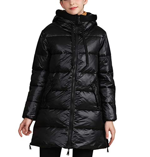 Damen Winterjacke Mantel Parka Winter Warm Gefütterte Daunenmantel Jacke (XXL, Schwarz)