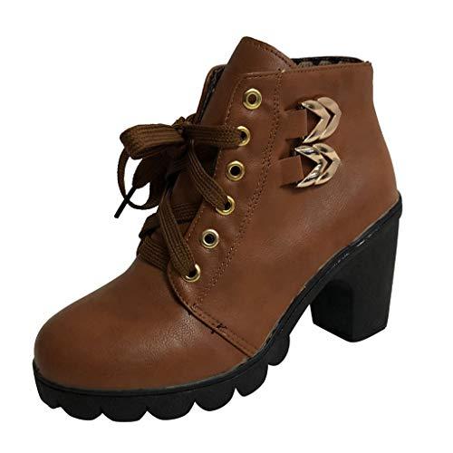 Moda Donna Spessa Tacco Alto Piattaforma con Lacci alla Caviglia Elegante Scarpe da Studente in Pizzo Donna Autunno Inverno Lacci con Tacco in Pelle Verniciata Stivaletti Impermeabili Antiscivolo