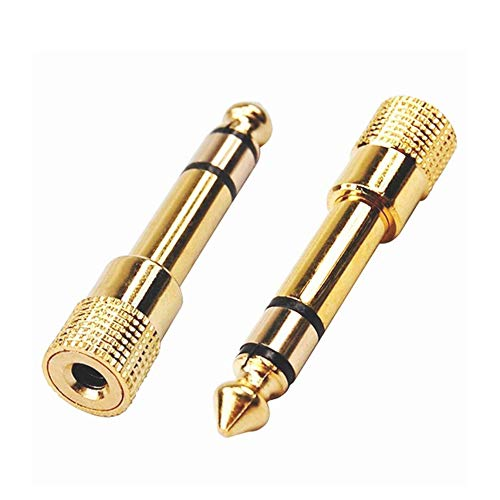 Runfon Klinkenstecker 3,5 mm auf 6,35 mm Stereo-Audio-Adapter Jack Plug Gold Stecker 6,3 mm Adapter Kopfhörer 1/4 Zoll