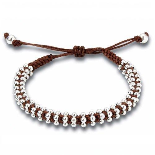 Joolz Sterling Silver Brown Friendship Bracelet