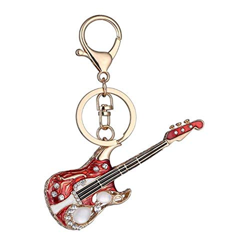 keyjiang sleutelhanger decoratie mode mini gitaar sleutelhanger Crystal schattige gadgets