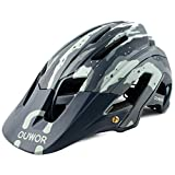Road & Mountain Bike MTB Helmet, CPSC Certified, with Removable Visor and Adjustable Dial (Camouflage Green)
