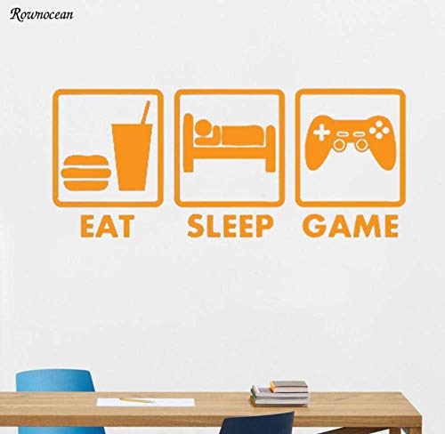 Eat Sleep Game Controller Joystick Wanddecoratie Home Decor Muursticker vliegtuig Vinyl afneembaar hoogwaardig 99 x 42 cm
