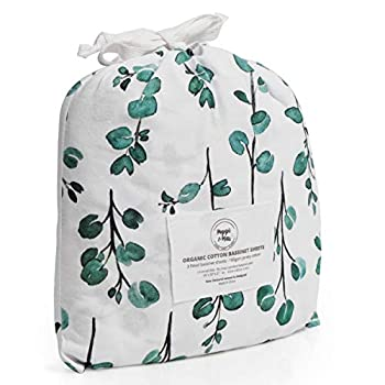 POPPI & MAX  100% Organic Bassinet Sheets – Premium Jersey Cotton 3-Sheet Set for Baby Girl or Boy | Fitted Sheets for Oval Rectangle Halo Bassinet Pads & Moses Basket | Boho Floral Eucalyptus Leaf