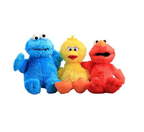 Intervic Pack 3 Peluches muñeco de Felpa Big Bird Elmo Cookie Galleta 23cm Los Teleñecos Comegalletas Kermit Peluche de Animal Suave Adorable Regalo Juguetes para niños y niñas