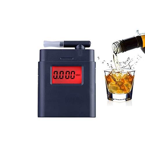 HEMFV Probador de Alcohol en el Aliento Alcoholímetro, probador de Alcohol Profesional con 4 boquillas de Alcohol portátil de Alcohol con Pantalla Digital LCD y Sensor Semi-Conductor