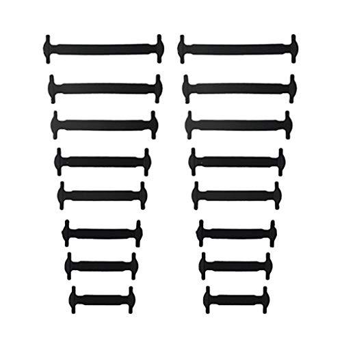 rongweiwang 16pcs / Paar Erwachsener Faule Elastic Keine Krawatte Schnürsenkel Freie Binden Silikon Schnürsenkel Leicht Schnürsenkel