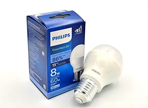 Philips Foco Led Lampara Ahorrador Paquete 6 Piezas Luz Fria Blanca consume 8w ilumina 60w Interior Exterior Casa Jardin Patio Terraza
