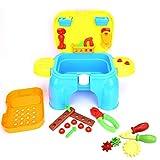 Juego de juguete de caja de herramientas de reparación de simulación niños duraderos Juego de simulación Caja en forma de silla con 33 piezas Varios accesorios