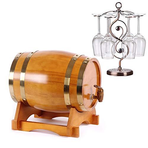 YANGUANG Barril de Vino Barril de Madera de Roble Roble Vintage Dispensador con Soporte de Madera for almacenar Cerveza, Vino Blanco, Brandy (Color : B, Size : 5L)