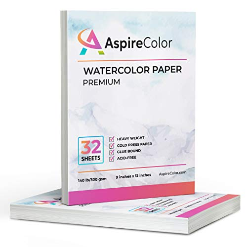 New AspireColor Watercolor Paper 140 lb Cold Press 9x12 Inch, Pack of 2, 64 Sheets (140lb/300gsm) - Heavy Weight Watercolor Sketchbook Paper for Painting, Watercolor, Mixed Media with Easy-Tear Sheets