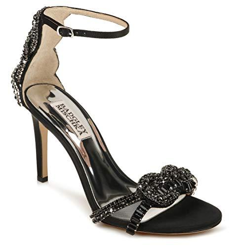 Badgley Mischka womens Ankle Strap, Heeled Sandal, Black Satin, 8.5 US