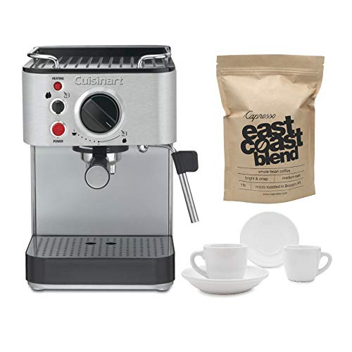 Cuisinart EM-100 Espresso Maker with 2 Cups, 2 Saucers, and Whole Bean Coffee (1-Pound) Bundle (4...