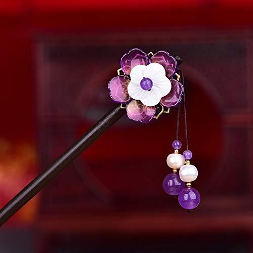 IQQI Frauen-Mädchen-Haar Stock Nationale Art Antike Hairpin Handgemachte Glasur Blumen Hairpin Zubehör,Lila