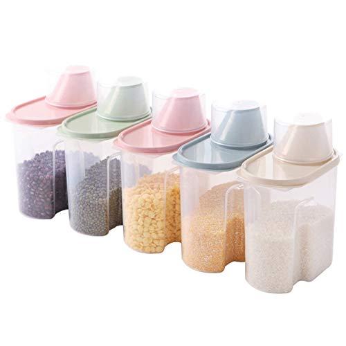 Prueba de arroz Grain Storage Box Cubo hermético Tanque de Insectos ya Prueba de Humedad de la Soja de Fideos Cubo de Fideos de arroz Caja Cilindro de judía Mung Box, B, 15X8X27cm