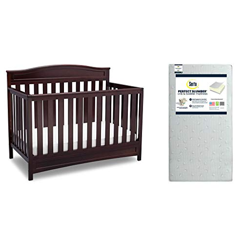 Delta Children Emery 4-in-1 Crib, Dark Chocolate + Serta Perfect Slumber Dual Sided Recycled Fiber Core Crib and Toddler Mattress (Bundle)