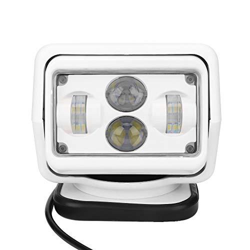 Qiilu Luz de búsqueda, luz LED de búsqueda con control remoto para coche de 60 W, foco exterior impermeable IP67 para coche, barco, blanco