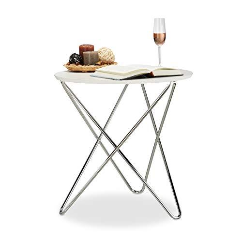 Relaxdays d'appoint Ronde Bout de Canapé Bois Pieds Métal courbés Table Basse de Salon 60 cm Blanc, Acier