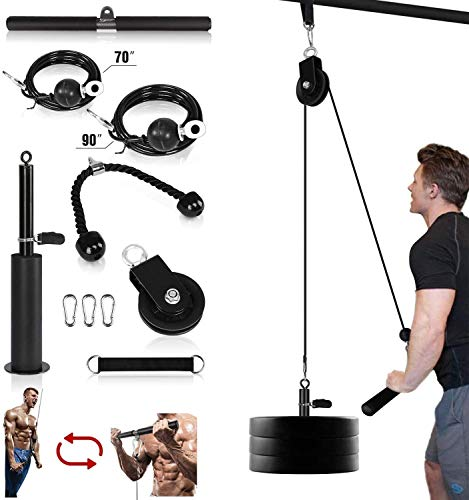 Morwealth Pulley Cable Machine Attachment System LAT Pulley system gym With Tricep Rope lat pulldown barLoading Pin for Tricep ExtensionsBicep Curls Home Gym exercise Equipment