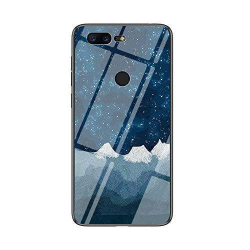 SHIEID Carcasa para OnePlus 5T,Mármol Vidrio Templado de Case Cover Ultra Fina Silicona Gel Caja Carcasa Antideslizante de Carcasa Blanda para OnePlus 5T (Tela de ajedrez Star Luo)
