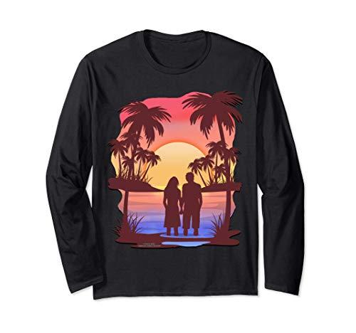 Pareja enamorada en la playa el día de San Valentín Manga Larga