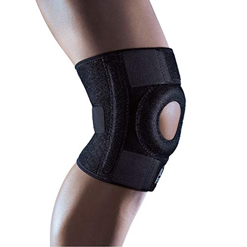 LP SUPPORT Extreme Knee Support Functional Brace with Open Patella Design, Bilateral Spiral Stays, Additional Donut-Shaped Patella Pad and Adjustable Hook and Loop Closure - One Size Fits All