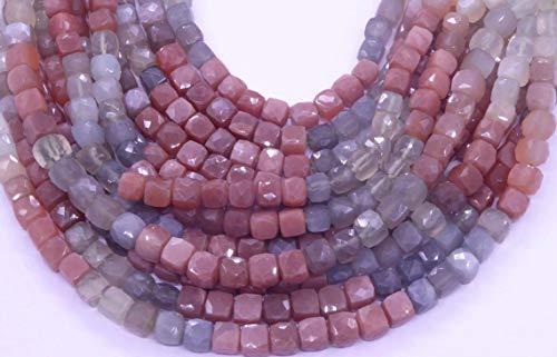 Shree_Narayani Cuentas sueltas de piedra lunar de alta calidad con micro facetas de cubo de 13 pulgadas para hacer joyas DIY artesanías encantos collar pulsera pendiente 1 hebra