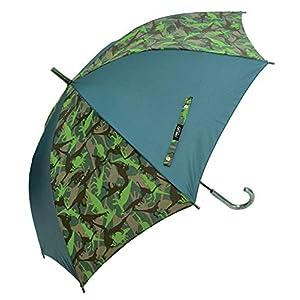 CAFE DIMLY UVダイナソーGR 恐竜柄 60CM グリーン カフェディムリー キッズカサ メンズ傘 ジャンプ傘 グラスファイバー骨使用 晴雨兼用傘 UVカット率90%以上