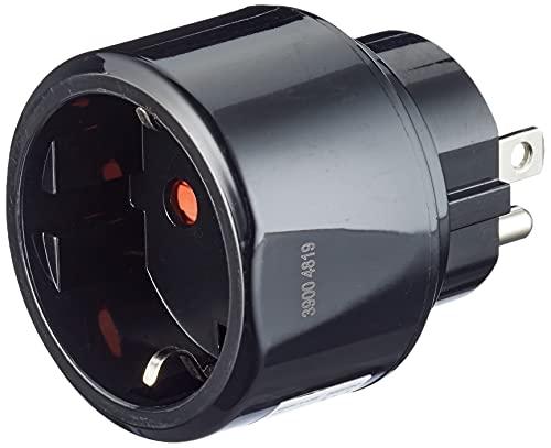 Brennenstuhl Reisestecker/Reiseadapter (Reise-Steckdosenadapter für: USA Steckdose und Euro Stecker) schwarz