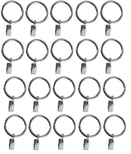 TEJATAN 1.5-inch, Set of 20, Silver Metal Curtain Rings with Clips and Eyelets (Also Known as Rings with Curtain Clips/Curtain Clip Rings/Drapery Rings/Curtain Rings with Clips/Drapery Clip Rings)