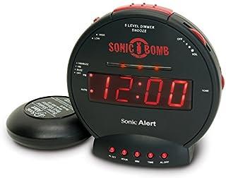振動型目覚まし時計 Sonic Bomb スーパーボム 大音量 113db バイブレーション で寝坊防止 サイレントバイブで快適目覚め LED 5段階調光 ボリューム調整 スヌーズ設定 最大90分 (ブラック)
