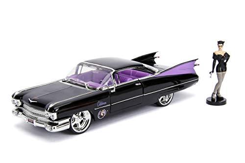 Jada Toys 253255006 DC Comics Bombshells, 1959 Cadillac, Auto, Spielzeugauto aus Die-cast, Türen, Kofferraum & Motorhaube zum Öffnen, inkl. Catwoman Figur, Maßstab 1:24, schwarz/lila