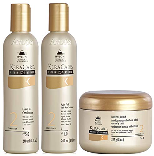 Avlon Keracare Natural Textures Leave-In Conditioner 240ml, Hair Milk 240ml & Honey Shea Co-Wash 227g