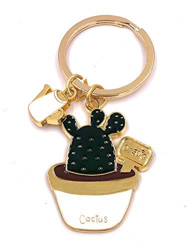 H-Customs Cactus Pflanze mit Gießkanne Schlüsselanhänger Anhänger Golden aus Metall