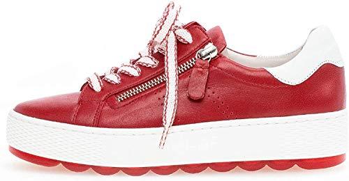 Gabor Damen Sneaker, Frauen Low-Top Sneaker,Comfort-Mehrweite,Reißverschluss,Übergrößen,Optifit- Wechselfußbett,kiss/Weiss,40 EU / 6.5 UK